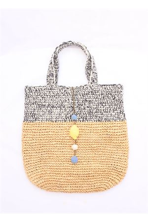 Blue raffia beach bag  Eco Capri | 31 | CRSHPPNVYBLU
