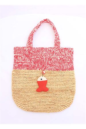 Red raffia day bag Eco Capri | 31 | CRSHPPREDRED