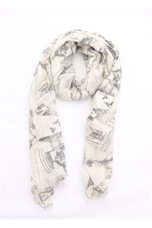 Cashmere scarf with architecture print of the Piazzetta of Capri Eco Capri | 77 | CSHCPRMR5IVORYBLACK