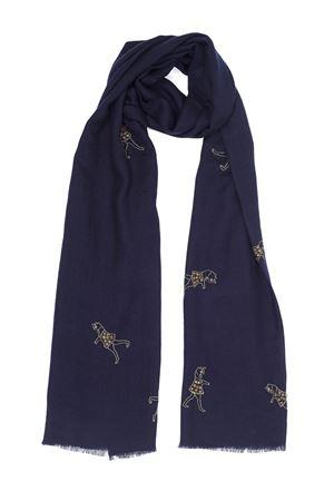 Blue cashmere scarf with ballerina fantasy  Eco Capri | 77 | CSHDNCNVBALLERINE NAVY BLUE