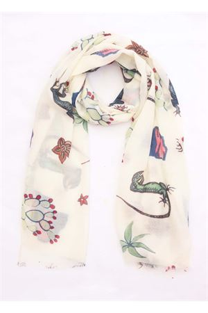 Cashmere scarf with patterns on a white background Eco Capri | 77 | CSHLZRWH7020BIANCO