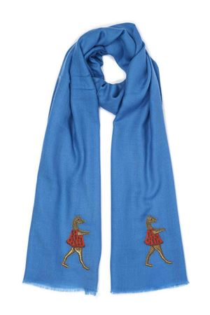 Cahsmere and wool scarf with ballerina  Eco Capri | 77 | CSHPZZNBLBLUE DANCER