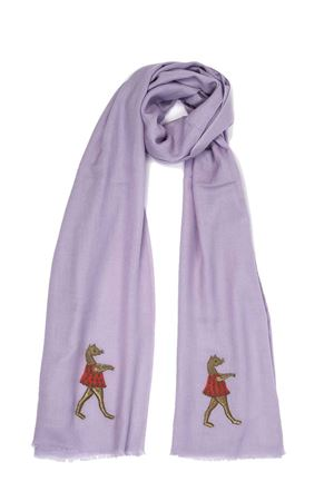 Liliac cashmere and wool scarf with ballerina ebroidery  Eco Capri | 77 | CSHPZZNLVLAVANDER DANCER