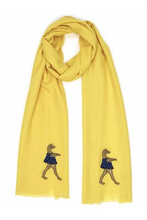 Yellow cashmere and wool scarf with ballerina  Eco Capri | 77 | CSHPZZNYLYELLOW DANCER