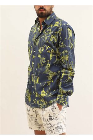 Cotton shirt for men with capri architecture pattern  Eco Capri | 6 | M2CNYCAPRI NAVY/FLUO