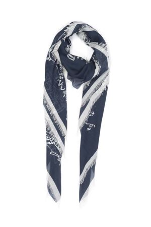 White and blue silk and modal scarf with Piazzetta view  Eco Capri | 77 | MDSL360NV140PIAZZA 360 NAVY BLUE