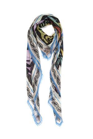 Sciarpa in seta e modal con fantasia Lucertola azzurra Eco Capri | 77 | MDSLBLLZR140BLUE LIZARD
