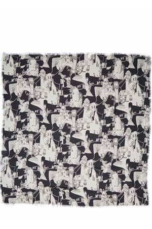 Silk and modal scarf with Capri pattern  Eco Capri | 77 | MDSLCPRBK140CAPRI BLACK