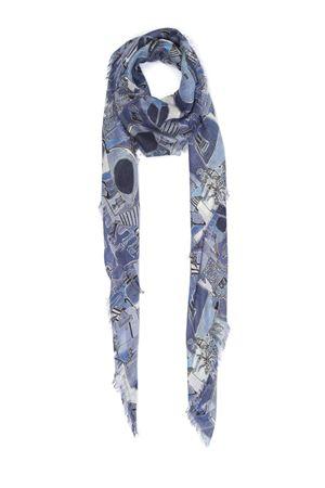 Light blue Piazzetta of Capri pattern scarf  Eco Capri | 77 | MDSLPZZBL140PIAZZA AZZURRA
