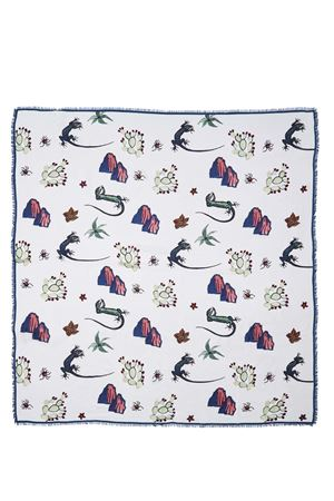 Blue lizards silk and modal scarf  Eco Capri | 77 | MDSLWHLZR140LIZARD WHITE