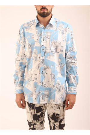 Camicia da uomo con fantasia architettura di Capri Eco Capri | 6 | MSHACPRBLCAPRICELESTE
