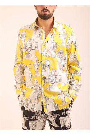 Camicia da uomo con fantasia su base gialla Eco Capri | 6 | MSHACPRYLCAPRIYELLOW