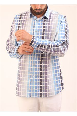 Camicia da uomo con fantasia in varie tonalità di azzurro Eco Capri | 6 | MSHAMCCBLBRUSHAZZURRO