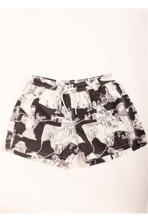 Swim shorts with Capri pattern  Eco Capri | 85 | MSWMCPR78CAPRI NERO/MATSHMALLOW