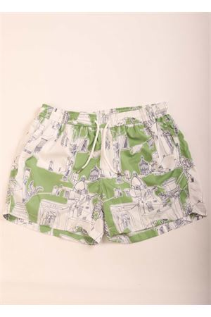 Green capri pattern swim shorts for men  Eco Capri | 85 | MSWMCPRGRCAPRI VERDE/NAVY