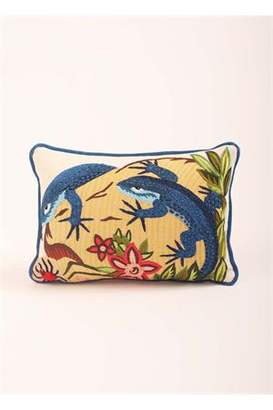 Embroidered pillow with Blue Lizards  Eco Capri | 20000024 | PIL401A350000LIZARD IN LOVE