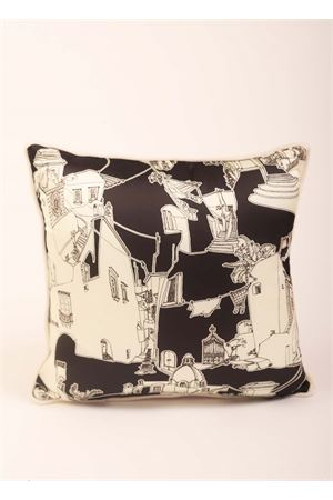Black and white pillow with capri houses print  Eco Capri | 20000024 | PILSLK45CPRBKNERO/AVORIO