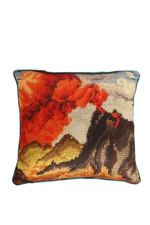 Pillow with Vesuvio of Naples  Eco Capri | 20000024 | PILSLK45VSVNERO/VERDE