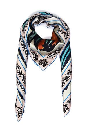 Pure Italian silk scarf with blue lizards  Eco Capri | -709280361 | SLKBLLZR110BLUE LIZARD