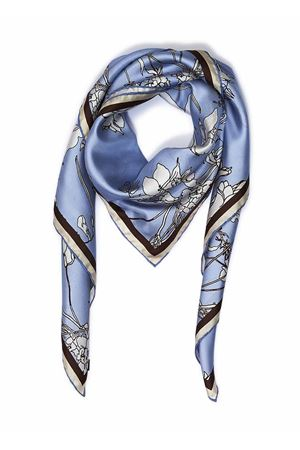 Pure silk scarf with flowers  Eco Capri | -709280361 | SLKFLWBLFLOWERS LIGHT BLUE