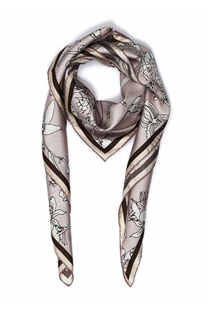 Pure silk scarf with beige flowers  Eco Capri | -709280361 | SLKFLWRPNFLOWERS LIGHT PINK
