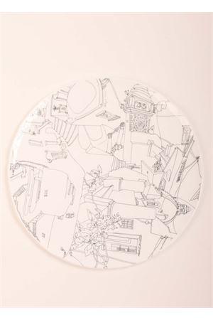 Piatto in vetro di Murano con disegno di Capri Eco Capri | 20000026 | VF30CAPRCAPRI B/N