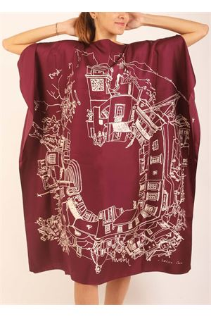 Pure silk tunic depicting Piazzetta of Capri Island  Eco Capri | 5032233 | WLSK110360PPPIAZZETTA 360 PURPLE
