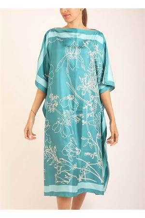 Turquoise silk tunic with flowers  Eco Capri | 5032233 | WLSK110FLBLFIORI BLU
