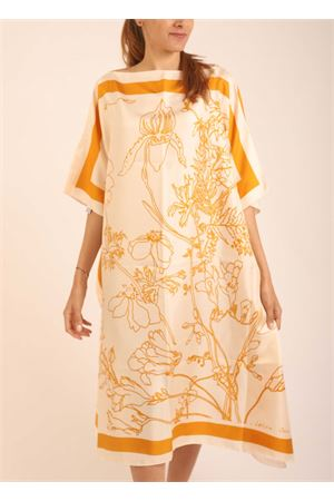 Yellow flowers pattern silk tunic Eco Capri | 5032233 | WLSK110FLCYLFIORI CREMA/GIALLO