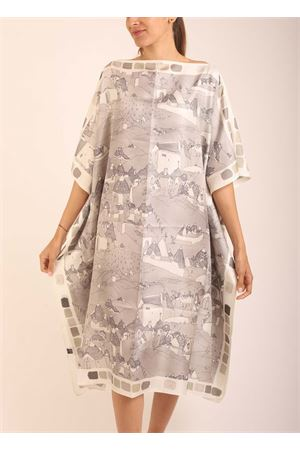 Silk tunic with Trulli pattern  Eco Capri | 5032233 | WLSK110TRLTRULLI GREY/CREAM