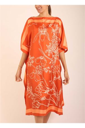 Orange silk tunic with flowers pattern  Eco Capri | 5032233 | WSLK110FLORFIORI ARANCIO