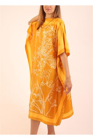 Pure silk flowers pattern tunic  Eco Capri | 5032233 | WSLK110FLYFIORI GIALLO