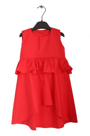 Red dress for baby girl with ruffle  Giro Quadro | 5032262 | GQ02ROSSO