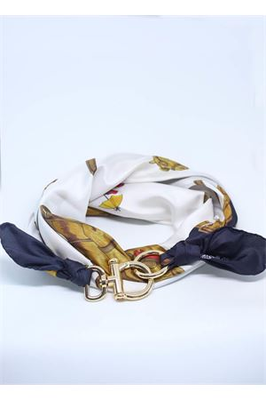 Adjustable pure silk scarf with horses Grakko Fashion | -709280361 | FOULARD CAVALLIBIANCO