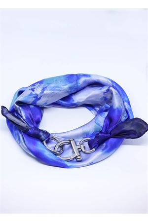 Adjustable pure silk scarf with flowers Grakko Fashion | -709280361 | FOULARD FIORIBLU