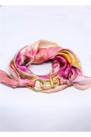 Adjustable pure silk scarf with flowers Grakko Fashion | -709280361 | FOULARD FIORIROSA
