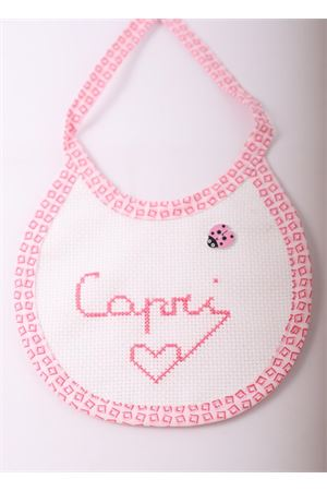 Baby bib with good luck ladybug application Il Filo di Arianna | 20000040 | CAPRIBIBSROSA