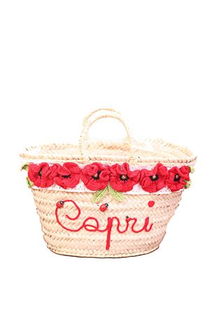 Capri style straw bag with red flwers La Bottega delle Idee | 31 | CESTAFIORIROSSO
