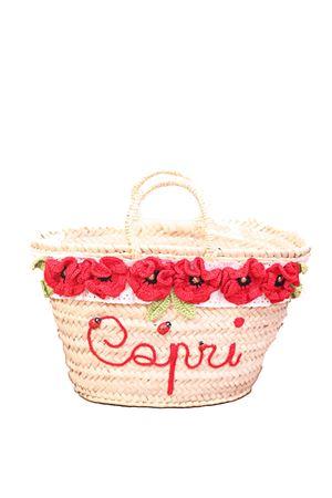 cesta in paglia con decorazione di fiori rossi La Bottega delle Idee | 31 | CESTAFIORIROSSO