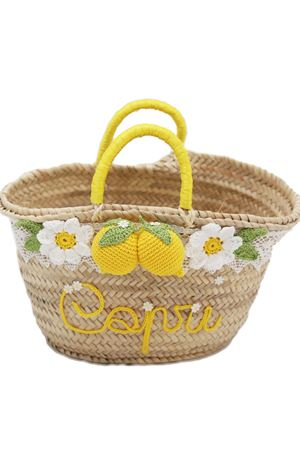 Big straw bag with lemons decoration  La Bottega delle Idee | 31 | LEMONBASKETBIGGIALLOLIMONI