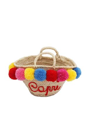 Straw bag with pom pom for baby girl  La Bottega delle Idee | 31 | POMPOMBAGBROSSO