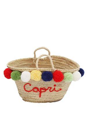 Capri straw bag with pom pom La Bottega delle Idee | 31 | POMPOMBAGMROSSO