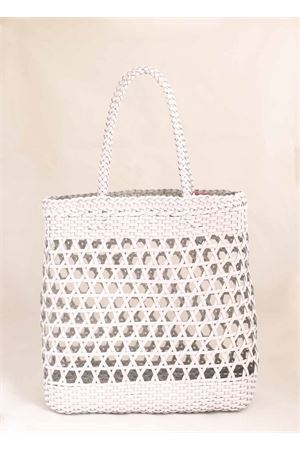 Borsa in pelle intrecciata bianca Laboratorio Capri | 31 | 082WHITE