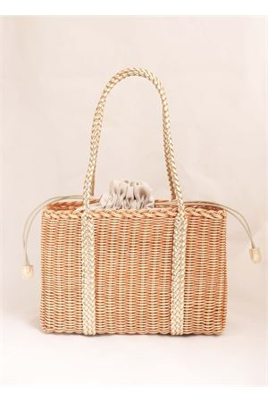 Rattan bag with platinum handles Laboratorio Capri | 31 | 102BISCOTTO