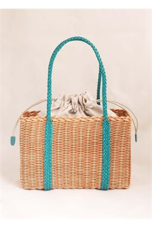 Woven wicker bag with turquoise handles Laboratorio Capri | 31 | 102BISCOTTOTURCH