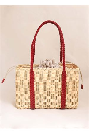 Woven wicker bag with red handles Laboratorio Capri | 31 | 102NATURALE
