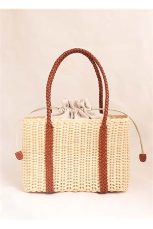 Woven wicker bag with cognac handles Laboratorio Capri | 31 | 102NATURALECOGNAC