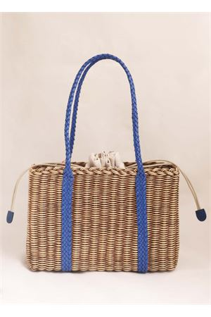 Woven wicker bag with cobalt blue handles Laboratorio Capri | 31 | 102TORTORA