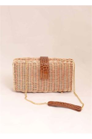 Wicker and crocodile print leather clutch Laboratorio Capri | 31 | 171BISCOTTOCOGNAC