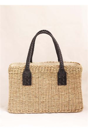 Straw bag with black leather handles Laboratorio Capri | 31 | 234CORDANERO